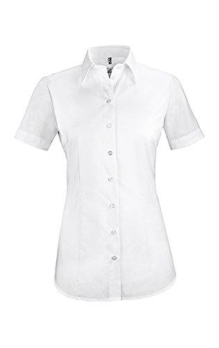 GREIFF Damen-Bluse Basic, Regular Fit, Stretch, Easy-Care, 6516, weiß, Größe 42