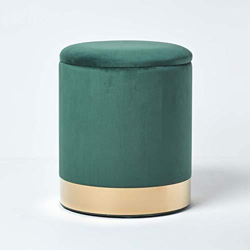 Homescapes runder Samt-Fußhocker Clarence, grüner Aufbewahrungshocker mit verstecktem Stauraum, Deko-Hocker mit Metallrand, 38 cm hoch, smaragdgrün