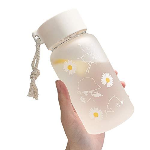 DELITLS portátil plástico del viaje escolar de la botella de agua del regalo 500ml con la pequeña margarita de la cuerda
