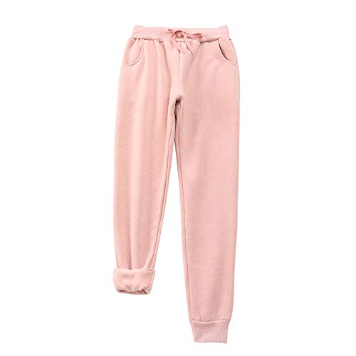 Jodimitty Damen Fleecehose Trainingshose Jogginghose Freizeithose Haushose Sporthose Lang Stretch Einfarbig Herbst Winter Hose