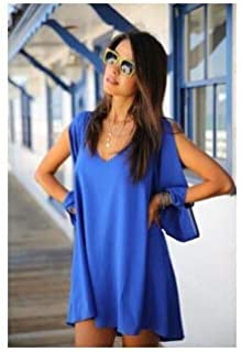 BEESCLOVER Summer Dress 2018 Casual Plus Size Women Clothing Long Sleeve Solid Color Chiffon V Dress Vestidos Beach Dress Loose Neck Dress