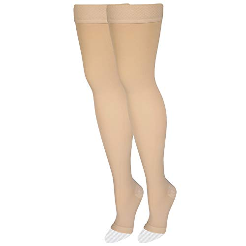 NuVein Medical Compression Stockings, 20-30 mmHg Support, Women & Men Thigh Length Hose, Open Toe, Beige, Large