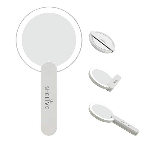 Travel Makeup Mirror with LED Light, Compact Handheld Vanity Mirror, Swivel Foldable On/Off Personal Mirror