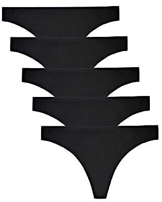 VOENXE Seamless Thongs for Women No Show Thong Underwear Women 5-10 Pack (5 Pack Black, Medium)