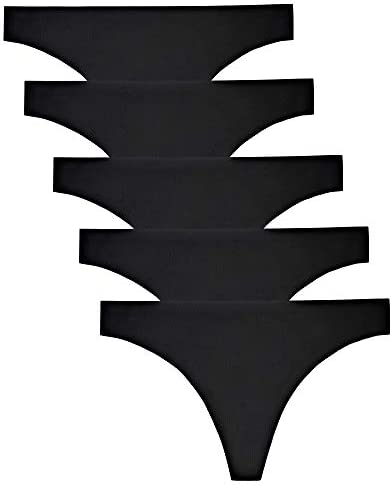 VOENXE Seamless Thongs for Women No Show Thong Underwear Women 5 10 Pack 5 pack black Medium product image