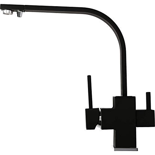 3 Wege Wasserhahn Aqua Tech Neo - Matt Schwarz | Hochwertiger Hingucker für die Küche