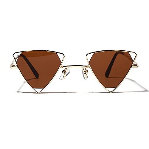 Siyse Gafas de Sol Personalidad Metal Gafas Triangulares Huecas Gafas Femeninas-B