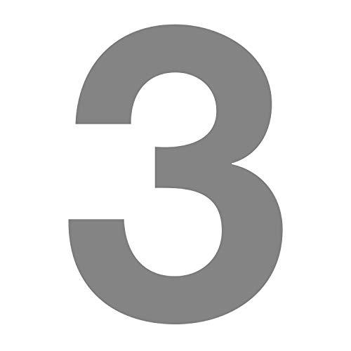 Zahlen-Aufkleber Nr. 3 in silber I Höhe 10 cm I selbstklebende Haus-Nummer, Ziffer zum Aufkleben für Außen, Briefkasten, Tür I wetterfest I kfz_675_3