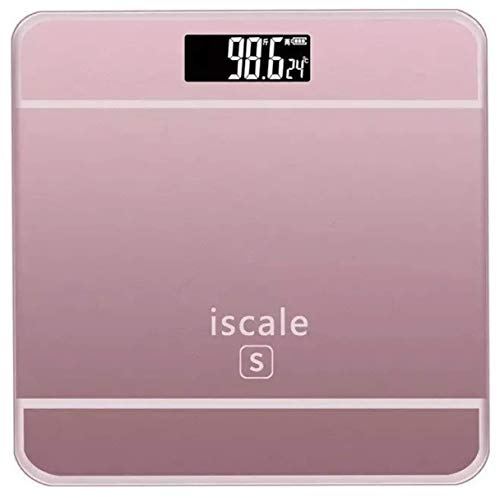 Bascula De Baño Digital Electrónica Vidrio Templado LED con Medidor Temperatura Capacidad Hasta 180kg Baterías Incluidas (Rosa)