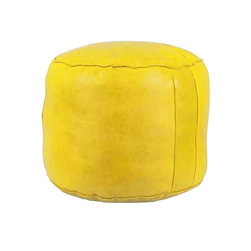Puf Puff de Cuero reposapiés Liso Color (Amarillo) Mide Aproximadamente 40 cm de diámetro y 35 cm de Alto