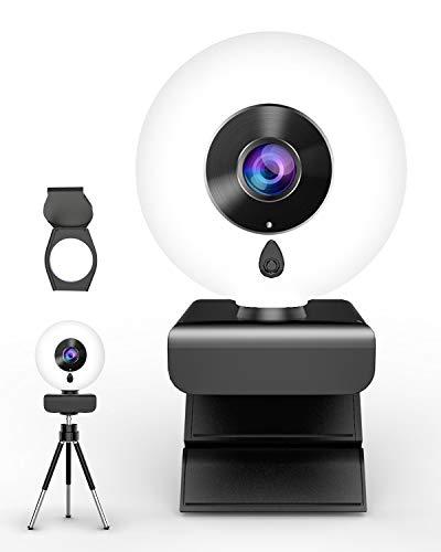 lesvtu 2K HD Webcam con Micrófono y Anillo de Luz, Camara Web con Cover y Tripode para PC/Mac/Ordenador Portatil/Sobremesa, Web CAM para Youtube, Skype, Zoom, Xbox One, PS4 y Videoconferencia