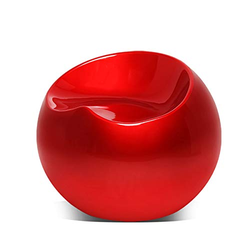 Magshion Modern Living Room Patio Night Club Bar Cocktail Guest Backless Ball Round Lounge Fiberglass Stool Pouf Chairs, Red