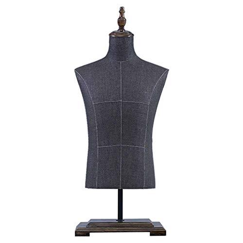 Maniqui Costura Torso de maniquí masculino con encimera con soporte, Pantalla de camiseta de cuerpo hueco con forma de vestido - Con base de madera para espectáculos, fotos o diseño en línea - Fácil d