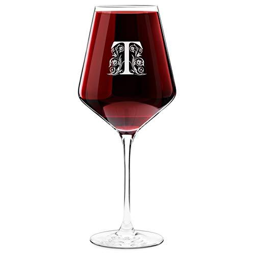 Krosno Weinglas mit Gravur - 490 ml - personalisiert - Rotweinglas Weißweinglas - Geschenk Geburtstagsgeschenk für Männer - Buchstabe