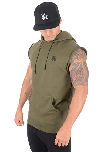 YoungLA Men's Workout Bodybuilding Muscle Sleeveless Hoodies 510 OLV M Olive