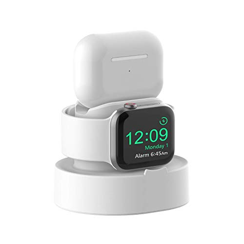 SOKUSIN Charger Stand for Apple Watch 38mm 40mm 42mm 44mm iWatch 1/2 /3/4 /5/6 /SE, Apple Watch Charging Stand Holder and Night Stand Mode, AirPods Pro Charger Dock,White【Cables NOT Included】