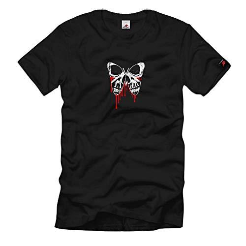 Copytec Skull Totenkopf Totenschädel Schädel Schmetterling Butterfly Bloody #597, Größe:XXL, Farbe:Schwarz