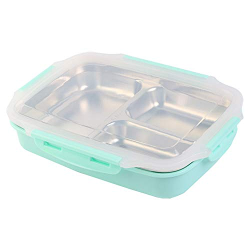 GDBLWK Fiambrera de acero inoxidable con agua hirviendo, contenedor de alimentos calentado para la escuela, cantina, oficina, bento, caja para niños, preparación de comidas en microondas + bolsa