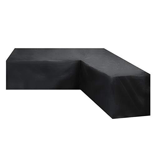 Funda Protectora Sofá de Esquina, Funda para Muebles de Jardín en Forma de V de Tela Oxford 210D, Impermeable Anti UV, a Prueba de Polvo, a Prueba de Viento, Negro,215x215x87cm