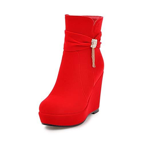 Shukun enkellaarsjes Verhoogde wighak laarzen Women'S Boots Lente en Herfst Enkele laarzen Dik-Geolied Super High-Heeled Winter Persoonlijkheid Suede Rode Bruiloft Schoenen