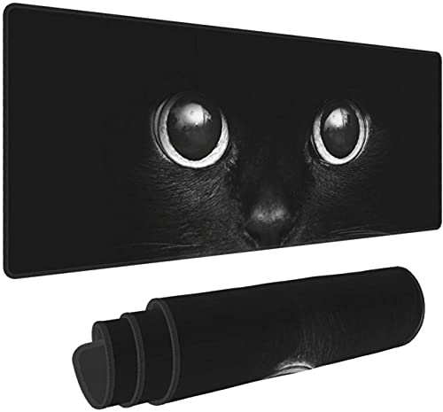 Black Cat in DarkLarge Gaming Mouse Pad XL,Extended Large Mouse Mat Desk Pad, Stitched Edges Mousepad,Long Non-Slip Rubber Base Mice Pad,31.5X11.8 Inch
