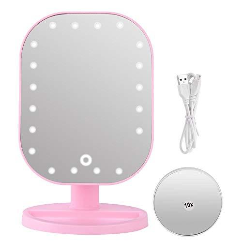 LED verlichte make-up make-upspiegel, 10X vergroting make-upspiegel met 20 LED-lampjes, desktop roterende cosmetische spiegel met touchscreen voor thuisbadkamer douche en reizen