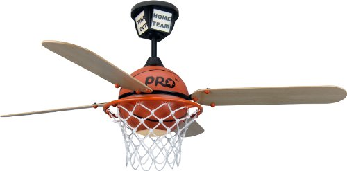 Craftmade PS52BB, Four Blade 52' Prostar Basketball Ceiling Fan With Light and Remote