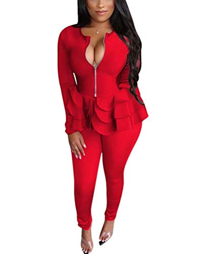 Women Two Piece Outfit Tracksuits Striped Jacket and High Waist Leggings Suit Business Worksuit Sets DarkBlue XL