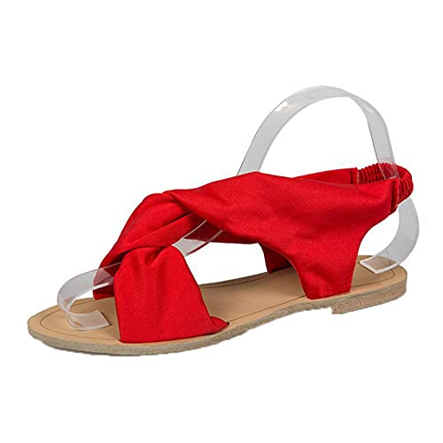 Ladies Sandals Lightweight Cotton Outdoor Summer Shoes Cross Tied Vintage Beach Leisure Beach Shoes Office Roman Sandals