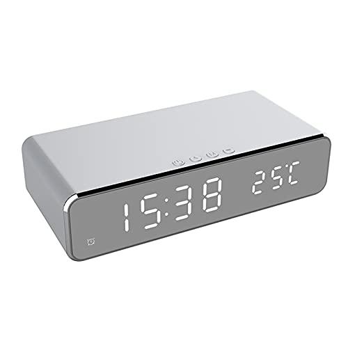 HJTYQS 3 en 1 DIRIGIÓ Reloj de Alarma eléctrico con Cargador de teléfono Desktop inalámbrico Termómetro Digital Reloj HD Reloj de Reloj con Tiempo de Memoria (Color : Silver)