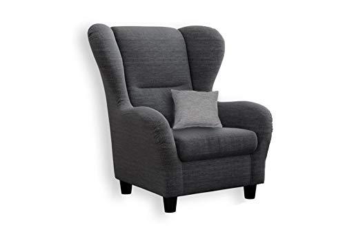 lifestyle4living Ohrensessel in grau im Landhaus-Stil | Der perfekte Polstersessel für entspannte, Lange Fernseh- und Leseabende. Abschalten und genießen!