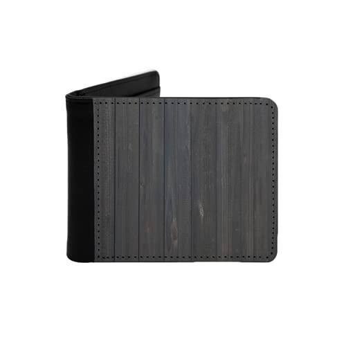 Portefeuille mince en cuir pour hommes,Image de texture de clôture en bois avec une surface rugueuse rustique patinée avec des planches de chêne,Portefeuille minimaliste à deux...