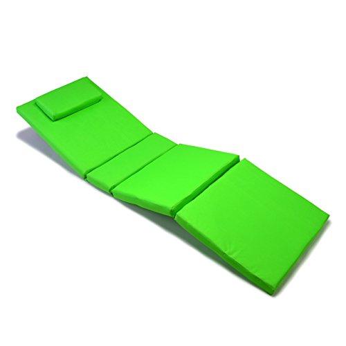 Nexos Divero Liegenauflage – Auflage Polster für Sonnenliege Gartenliege Holzliege Saunaliege mit Kopfkissen – bequem hochwertig robust – hellgrün