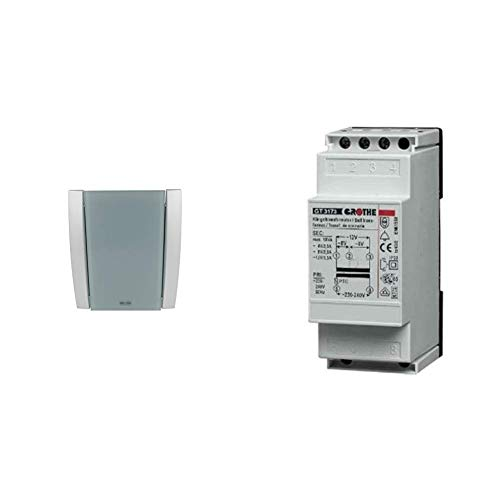 Grothe Croma Elektronik- Gong Türklingel (100A, max. 86 dB, 17 Melodien) Silber-Grau, 43170 & GT3173 Klingeltransformator