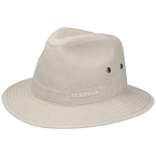 Stetson Sombrero Organic Cotton Traveller Hombre - de Tela Sol con Forro Primavera/Verano - S (54-55 cm) Beige Claro