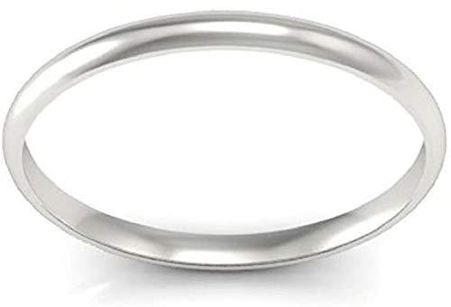 SFL - Anello da donna semplice a fascia, in oro bianco 14 K, in argento Sterling 925, 2 mm