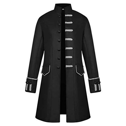 Skxinn Vintage Mantel für Herren, Männer Langarm Frack Stehkragen Mode Smoking Jacke Gothic Gehrock Uniform Kostüm Praty Trenchcoat Steampunk Graben Outwear Windbreaker(Z02-Schwarz,Small)
