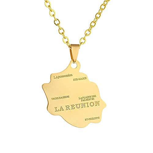 Collar de mapa con diseño encantador LareUnion, nombre de la ciudad, mapa de contorno, collar con colgante de oro, joyería étnica única para viajes patrióticos, unisex, regalo conmemorativo en varias