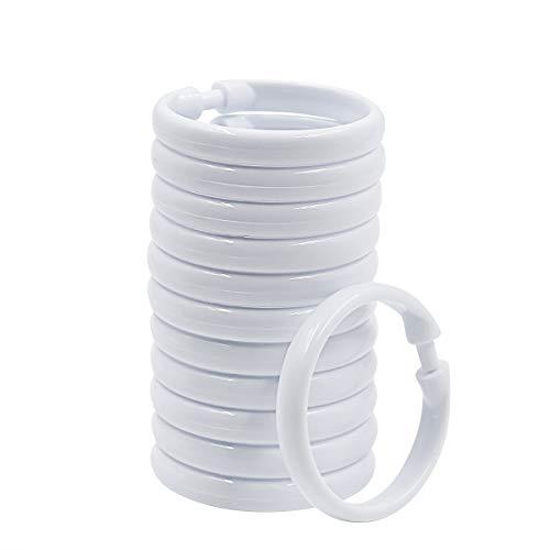 Qulable Shower Curtain Rings-12 Pack- Plastic Curtain O Rings Hook Glide Easily on Bathroom Shower Rod (White, 12 Pack)