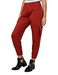 Splash Cotton Solid Side-Pocket Elastic-Trim Cargo Pants for Women 12