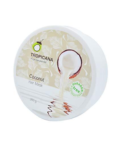Tropicana Oil Natürliche Kokos Haarmaske 250g | mit kaltgepresstem Kokosöl, Arganöl&Litsea Glutinosa Extrakt | Haar Feuchtigkeitspflege | Repariert beschädigtes Haar&reduziert Schuppen | Naturkosmetik