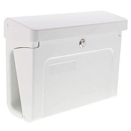 Burg-Wächter Briefkasten mit Zeitungsbox und Namensschild, A4 Einwurf-Format, EU Norm EN 13724, Inkl. 2 Schlüssel, Hochwertiger Kunststoff, Fehmarn 3888 W, Weiß
