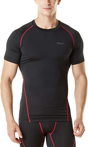 TSLA Men's Thermal Short Sleeve Compression Shirts, Athletic Sports Base Layer Top, Winter Gear Running T-Shirt, Heatlock Short Sleeve(yub59) - Black & Red, Medium