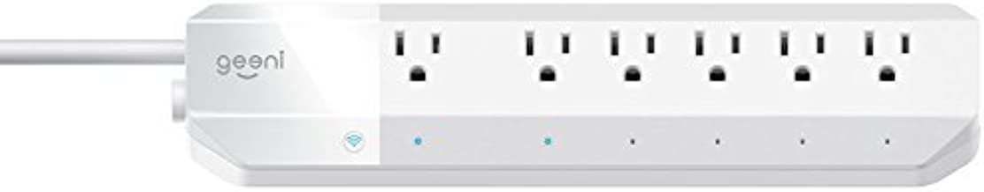 Geeni Surge 6-Outlet Smart Wi-Fi Surge Protector, No Hub Required, Works with Alexa, The Google Assistant & Microsoft Cortana, White
