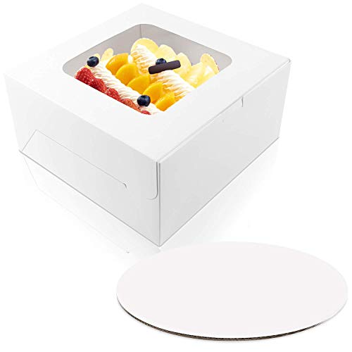 Moretoes 10 x 10 x 5 inches Cake Bakery Boxes with Window and 10 inches Round Cake Boards, Paperboard Cake Boxes for Cakes, Pastries, Cookies, Pie, 15 Pack of Each