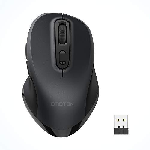 OMOTON Kabellose Maus, 2.4GHz Wireless Maus mit USB-Empfänger, 5 DPI-Stufen (800-2400), Funkmaus für Desktop, Laptop, PC, Mac OS und andere Geräte, Schwarz