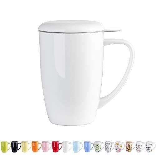 LOVECASA Teetasse porzellan, 450 ml Porzellan Tee Becher mit Edelstahl Teefilter und Deckel für Früchtetee, lose Tee, Teebeutel, im Büro Weiß