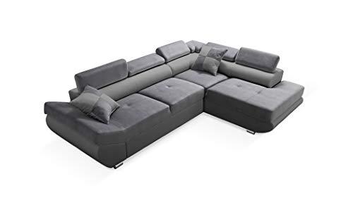 Robin Saturn Ecksofa mit Schlaffunktion, Schlafsofa mit Bettkasten und Kissen, Freistehendes Eckcouch in L-Form, Polstergarnitur Sofa (Grey/Grey)