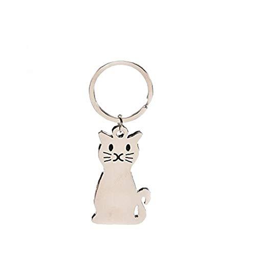 Metall-Katze Keychain Silber Ton Feline Sitzen Verrückte Whisker Kitty Katzen-Schwanz Pur Meow-Tier-Haustier-Beutel-Anhänger Schlüsselanhänger 1PC