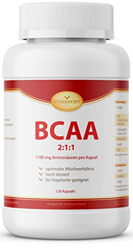 BCAA 2:1:1 Amino Mega Caps - 1100 mg pro Kapsel - 120 Kapseln - Aminosäuren - Amino Plus - Made in Germany - VITACONCEPT